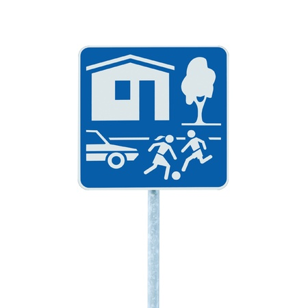 Home Zone Entry Sign, isolated residential area road traffic roadsign photo