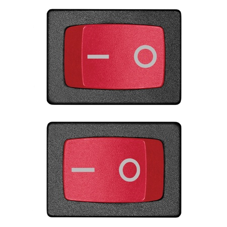 toggle: Red power switch in on off position, isolated macro closeup