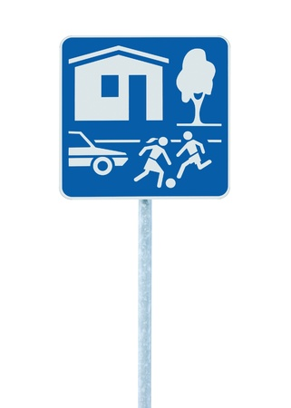 Home Zone Entry Sign, isolated residential area road traffic roadsign Stock Photo - 9394892