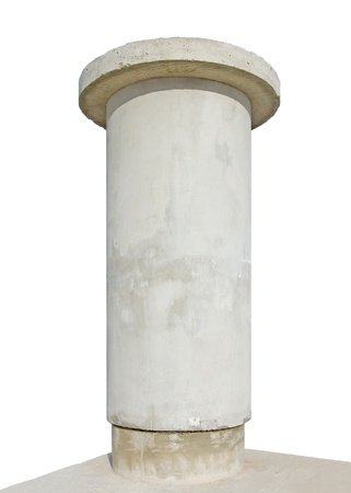 Advertising pillar, weathered aged grunge light grey concrete, isolated empty blank copyspace photo