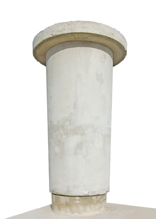Advertising pillar, weathered aged grunge light grey concrete, wide angle, isolated empty blank copyspace photo