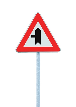Crossroads Warning Main Road Sign With Pole Left, isolated Stock Photo - 9584281