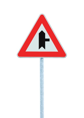 Crossroads Warning Main Road Sign With Pole Right, isolated Stock Photo - 9584280