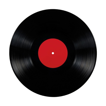 Black vinyl lp album disc; isolated long play disk with blank label in red Stock Photo - 9584294