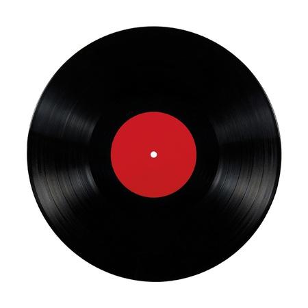 Disco de vinilo negro lp �lbum; disco de aislados de larga duraci�n con etiqueta en blanco en rojo