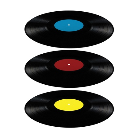 Black vinyl lp album discs; isolated long play disks with blank label in cyan blue, red, yellow perspective photo