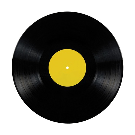Black vinyl lp album disc; isolated long play disk with blank label in yellow Stock Photo