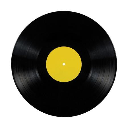 Zwart vinyl lp album frictieplaat; geïsoleerde long play schijf met blank label in geel