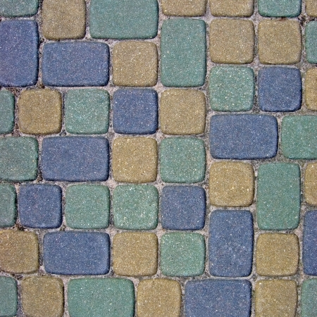 Cobblestone Texture Background Closeup, colorful green, yellow, blue, tan, grey, gray, beige ashlar photo