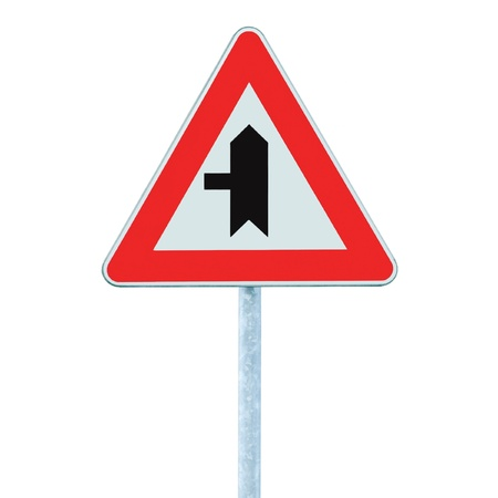 Crossroads Warning Main Road Sign With Pole, Left, isolated Stock Photo - 9705255