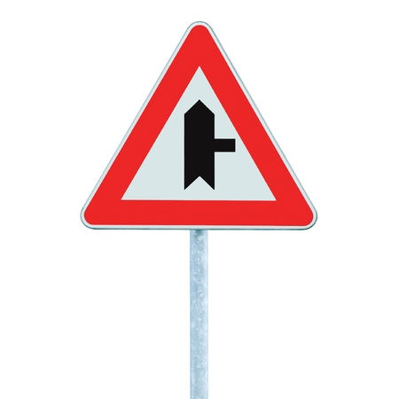 Crossroads Warning Main Road Sign With Pole, Right, isolated Stock Photo - 9705253