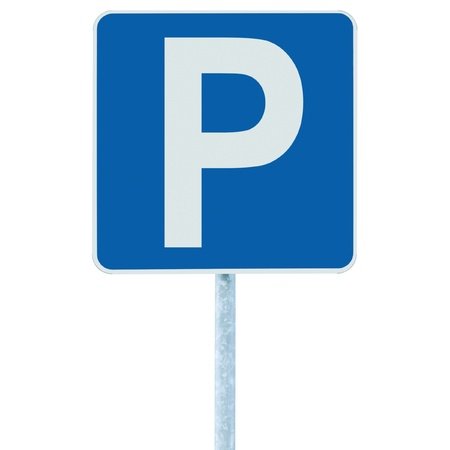 Parking place sign on post pole, traffic road roadsign, blue isolated photo