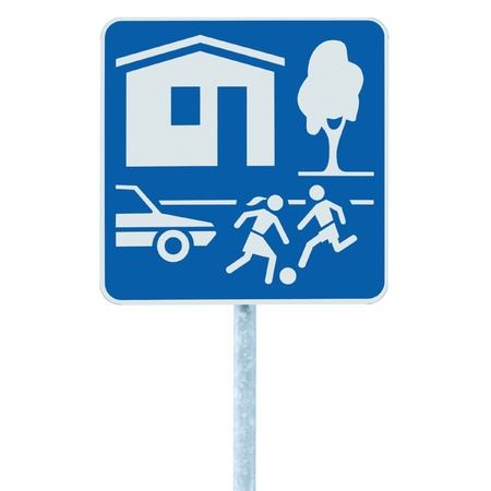 Home Zone Entry Sign, isolated residential area road traffic roadsign Stock Photo - 9705275