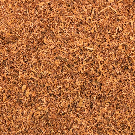 Cut Pipe Tobacco Texture Background, Macro Closeup Stock Photo
