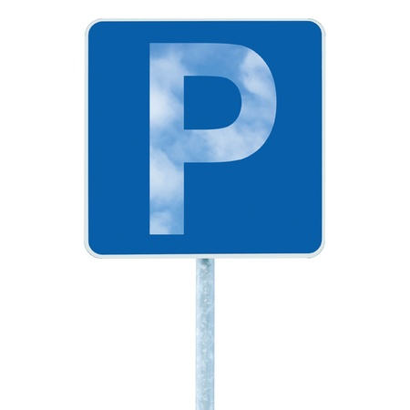 Parking place sign on post pole, traffic road roadsign, stylized sky P, blue isolated Stock Photo - 9705276