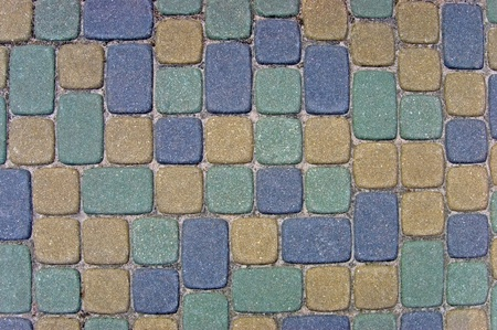 Cobblestone Texture Background Closeup, colorful green, yellow, blue, tan, grey, gray, beige ashlar photo