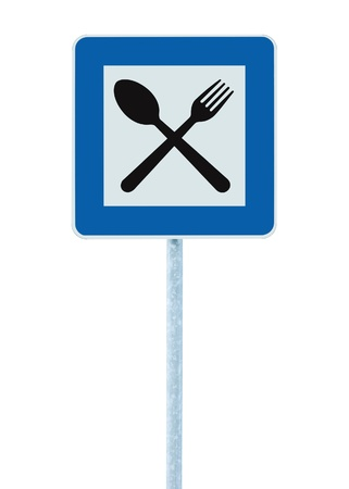 Restaurant sign on post pole, traffic road roadsign, blue isolated dinner bar catering fork spoon signage Stock Photo - 9951593