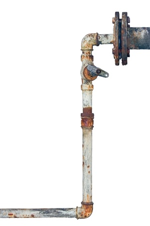 fitting: Old rusty pipes, aged weathered isolated grunge iron pipeline and plumbing connection joints with industrial tap fittings, faucets and valve Stock Photo
