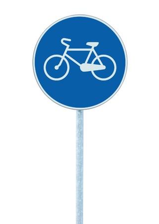 blue signage: Bicycle lane sign indicating bike route, large blue round isolated roadside traffic signage