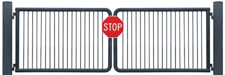 no entry: Grunge Aged Weathered Road Barrier Gate And Stop Sign, Old Rusty Black Isolated Stock Photo