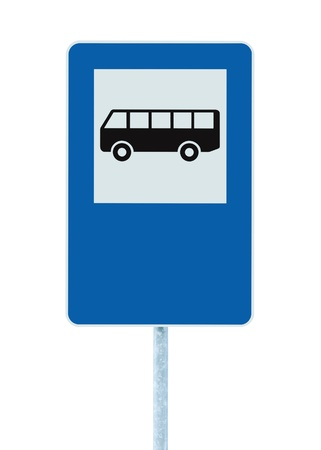 blue signage: Bus Stop Sign on post pole, traffic road roadsign, blue isolated signage copyspace Stock Photo