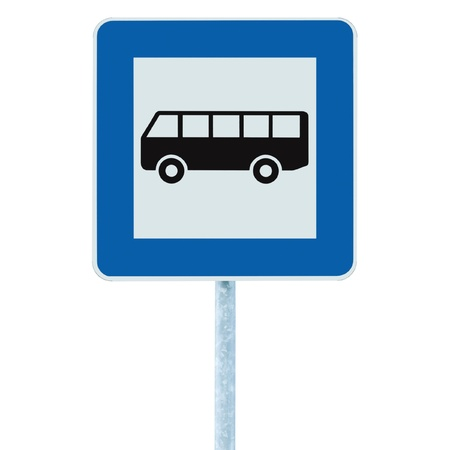 bus station: Bus Stop Sign on post pole, traffic road roadsign, blue isolated signage Stock Photo