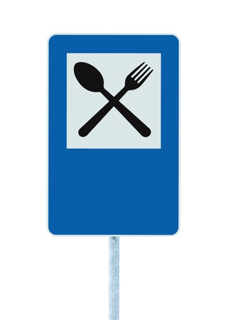 Restaurant sign on post pole, traffic road roadsign, blue isolated dinner bar catering fork spoon signage and blank empty copyspace photo