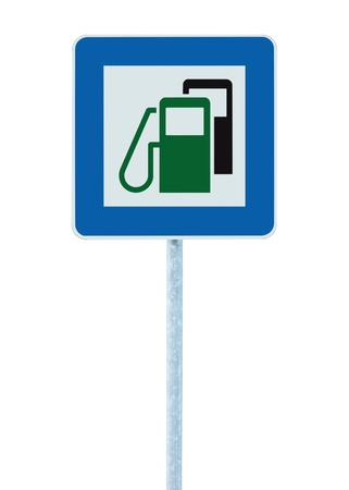 propellant: Gas Station Road Sign, Green Energy Concept, Gasoline Fuel Filling Traffic Service Roadside Signage, Isolated Blue Petrol Fuel Tank Oil Pump Roadsign On Pole