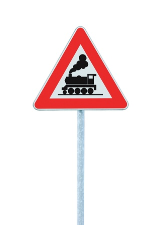 Railroad Level Crossing Sign without barrier or gate ahead the road, beware of train roadside signage, roadsign on pole photo
