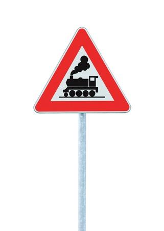 Railroad Level Crossing Sign zonder barrière of poort voor de weg, pas op voor de trein langs de weg borden, bord op pole