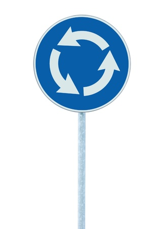 Roundabout crossroad road traffic sign isolated, blue, white arrows right hand photo