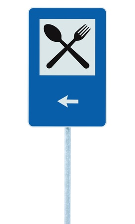 Restaurant sign on post pole, traffic road roadsign, blue isolated dinner bar catering fork spoon signage, left side pointing arrow photo