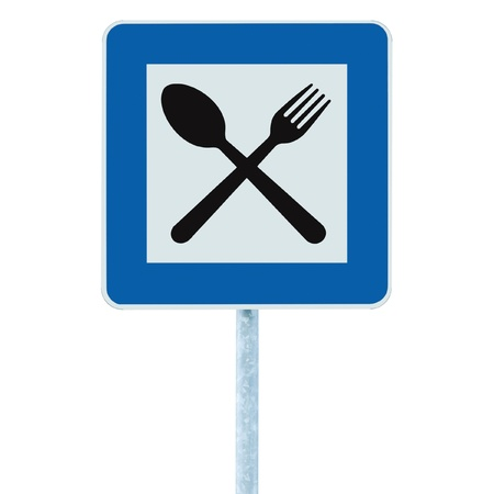 Restaurant sign on post pole, traffic road roadsign, blue isolated dinner bar catering fork spoon signage