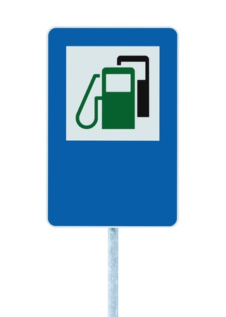 propellant: Gas Station Road Sign, Green Energy Concept Gasoline Fuel Filling Traffic Service Roadside Signage, Isolated Blue Petrol Fuel Tank Oil Pump Roadsign On Pole Plus Copyspace