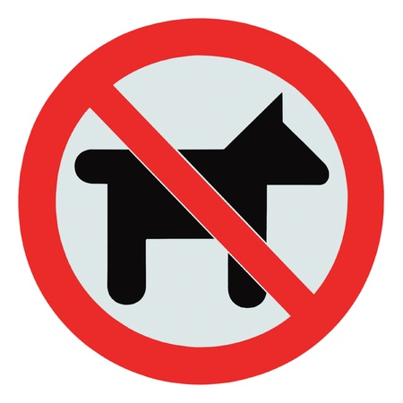 a public notice: No dogs  pets allowed, warning sign, isolated round signage