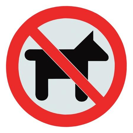 prohibido: No hay perros y mascotas, signo de advertencia aislaron se�alizaci�n ronda Foto de archivo