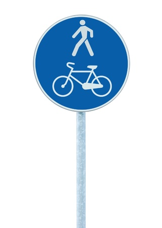 walking pole: Bicycle and pedestrian lane road sign on pole post, large blue round isolated bike cycling and walking walkway footpath route traffic roadside signage