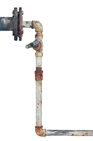Old rusty pipes, aged weathered isolated grunge iron pipeline and plumbing connection joints with industrial tap fittings, faucets and valve Stock Photo