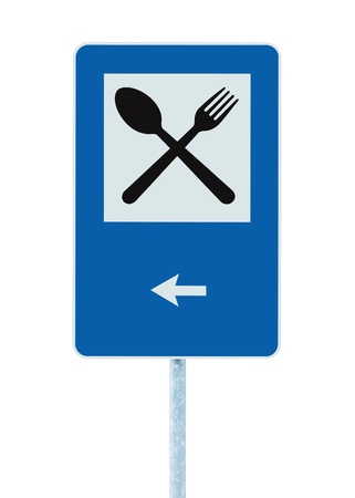 blue signage: Restaurant sign on post pole, traffic road roadsign, blue isolated dinner bar catering fork spoon signage, left side pointing arrow