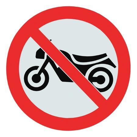 Geen motorfiets teken, geïsoleerd geen fietsen toegestaan verbod waarschuwing voor bewegwijzering
