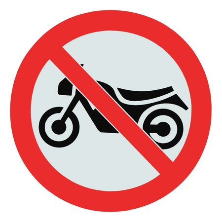 No motorcycle sign, isolated no bikes allowed prohibition zone warning signage photo