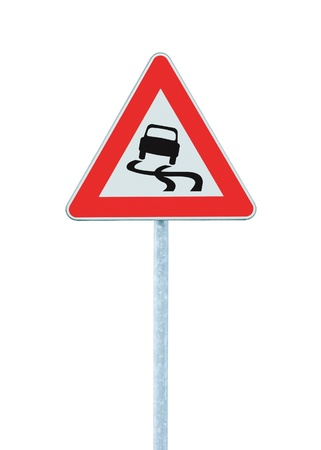 Slippery when wet road sign, isolated signpost and traffic signage Stock Photo - 10555318