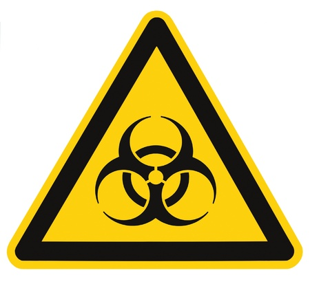 Biohazard symbol sign of biological threat alert isolated black yellow triangle signage macro photo