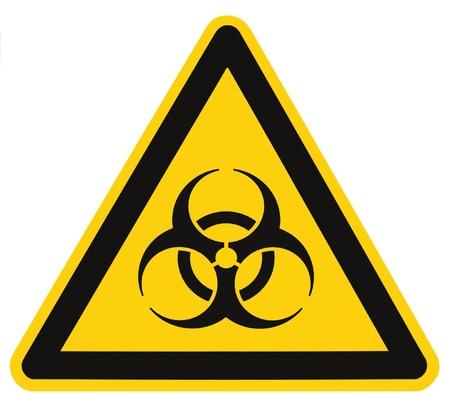 S�mbolo de riesgo biol�gico de alerta biol�gica amenaza aislada negro amarillo macro tri�ngulo de se�alizaci�n Foto de archivo