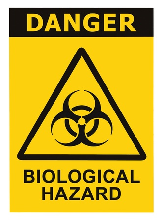 hazmat: Biohazard symbol sign of biological threat alert, black yellow triangle signage text isolated Stock Photo