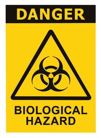 Signe symbole Biohazard de la menace biologique alerte, texte noir jaune signalisation triangle isolé