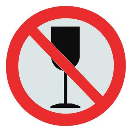 botar basura: Ning�n signo de alcohol, bebida aislado prohibici�n zona cruzada c�liz se�alizaci�n, no est� permitido beber Foto de archivo