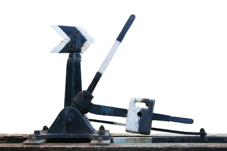 Old degradado oxidado puntos ferrocarril grungy interruptor mec�nico manual de ferrocarril participaci�n flecha, grunge retro aislada primer plano
