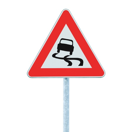 Slippery when wet road sign, isolated signpost and traffic signage photo