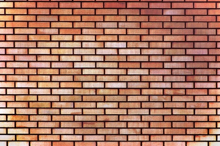 Red yellow beige tan fine brick wall texture background, large photo